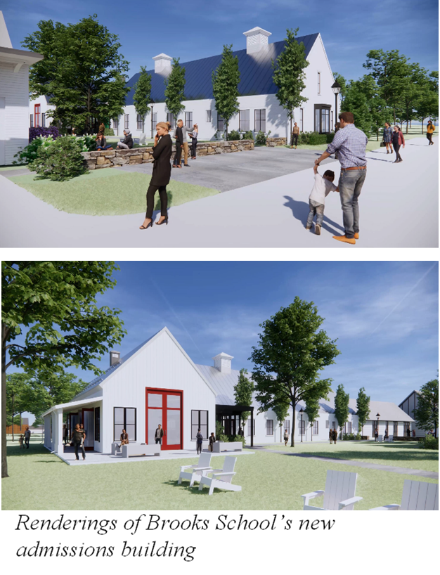 Renderings of Brooks School's new admissions building